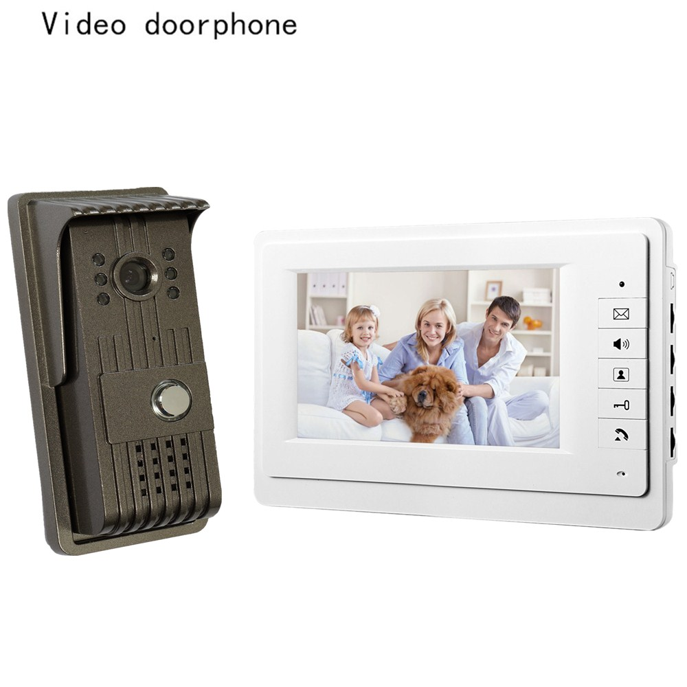 7 Inch Video Doorbell TFT-LCD Hd Screen Wired Video Doorphone For Villa  One Monitor With One Metal Outdoor Unit Night Vision
