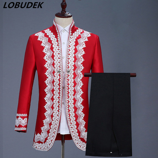 (jacket+pants) Red Men's Suits Male Wedding Prom Party Performance Costumes Bar Show Nightclub Stage Outfit England Court Dress