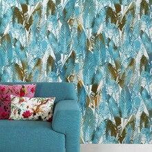 Tropical Rainforest Green Yellow Banana Leaf Print Vinyl Wallpaper  Wall Papers Home Decor Forros Para Muebles De Sala
