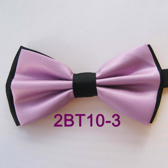 YIBEI Coachella Ties Man Lilac Bowtie Plaid Double-Deck Jacquard Woven Bow  Ties Solid Color fcfbebd23f65