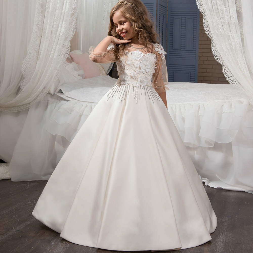 Gorgeous Beading Floral First Communion Dress Girls Tulle Kids Ball Gowns Ruffles Floor Length Girls Pageant Dresses 2 12