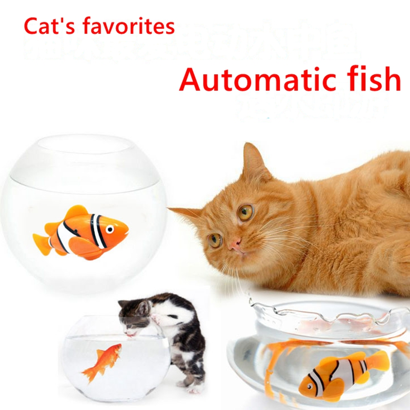swimming fish cat toy
