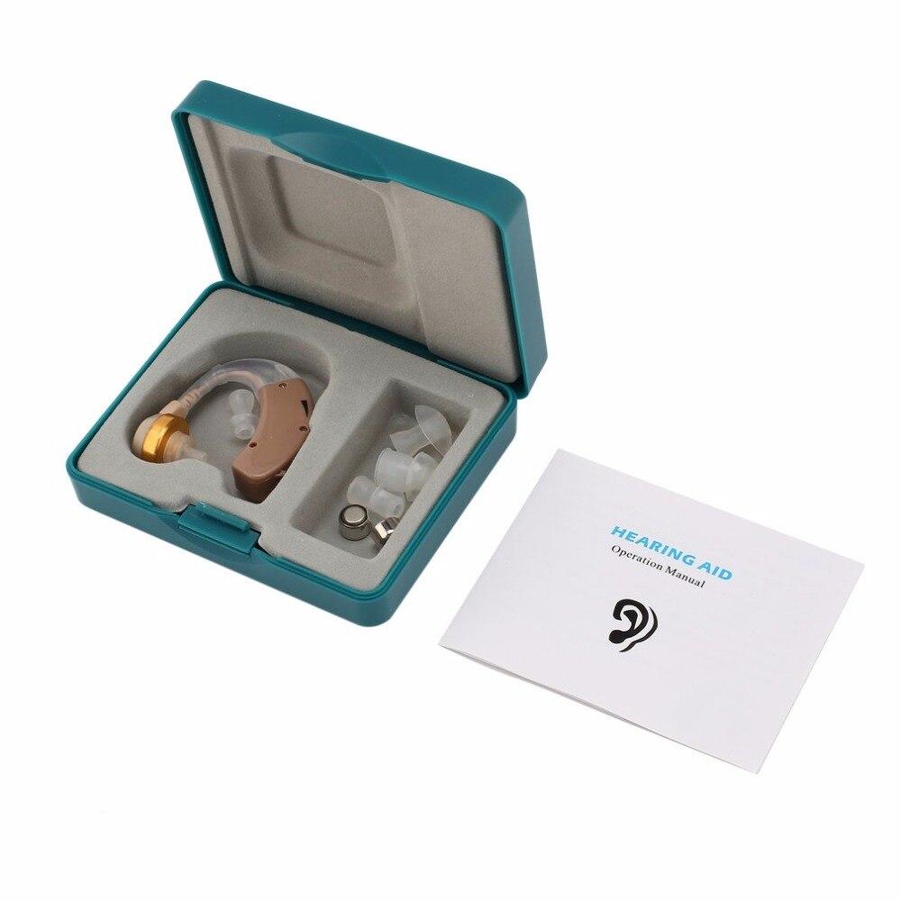 Audífono del oído kit con 4 diferentes tapón ajustable detrás oído sonido Amplificadores dispositivo potenciador de sonido Cuidado para oídos f-136