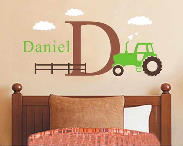 356ee0b890 Große Traktor Wandtattoo Set-Jungen Name und Erste  Aufkleber-Personalisierte Cartoon Jungen Aufkleber Wandaufkleber