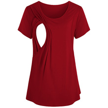 Womens Causal Short Sleeve Layered Nursing Tops Summer Comfortable Maternity T-shirt BreastfeedingTunic