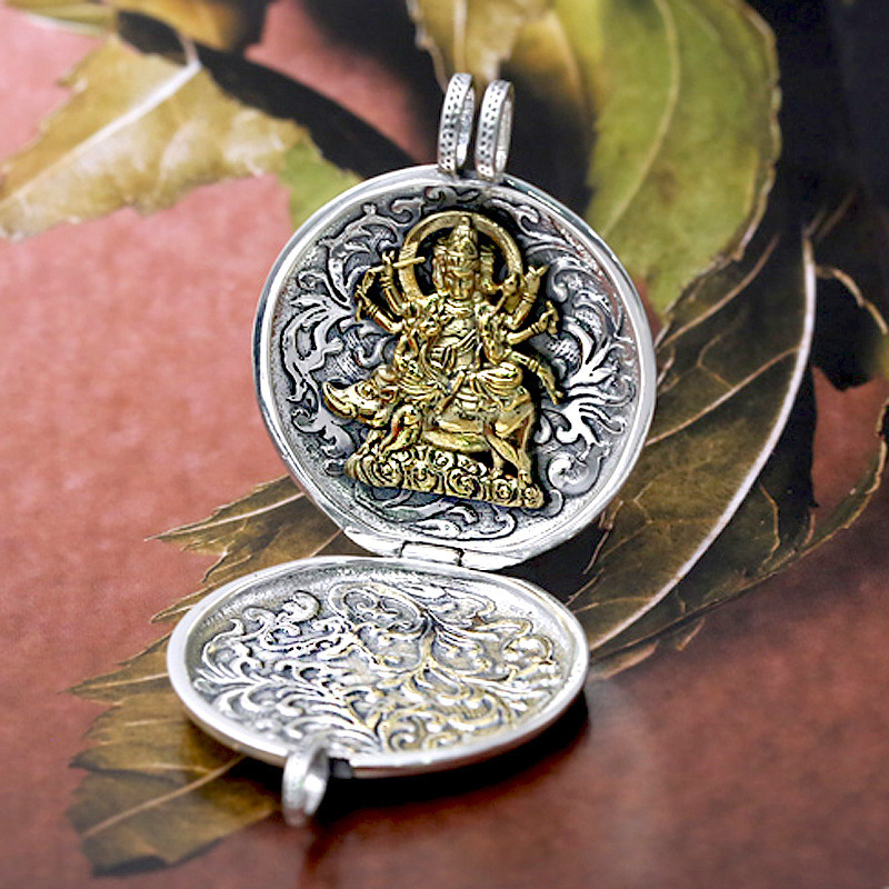S925 pure silver ornaments, the Buddhas lock Thai silver pendant sweater necklace box can open men and womenS925 pure silver ornaments, the Buddhas lock Thai silver pendant sweater necklace box can open men and women