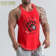 Men Bodybuilding Tank top Gyms Fitness Cotton Sleeveless t shirt Crossfit clothing workout Stringer Singlet Casual Print Vest