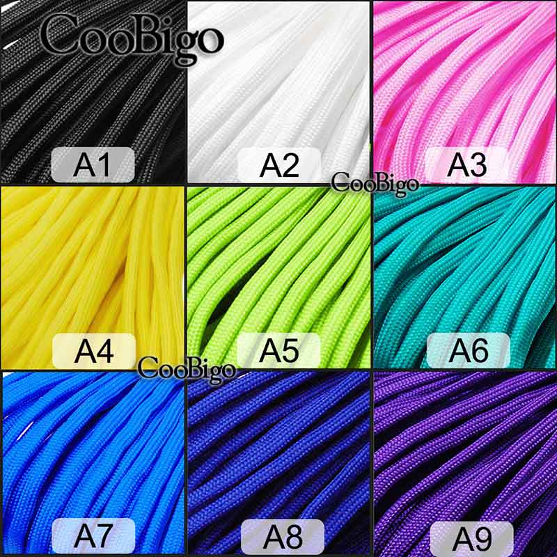 54 Colors Pick 10/20/50/100/328FT Paracord Parachute 550 Rope Type III 7 Core Strand Climbing Camping Buckle Bracelet #S0021-A/B