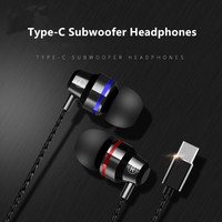 outdoor sports Fanshu In-Ear Metal Earphones Type-c Interface Stereo Noise Reduction Cancellation Outdoor Sports Wired Headset With Mic (2)