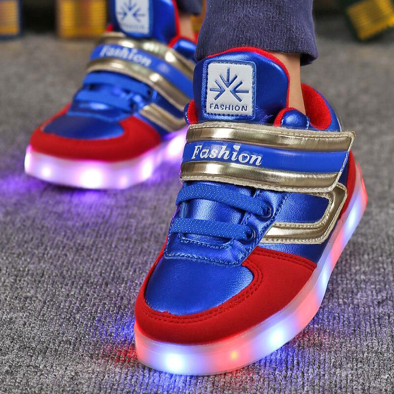 Glowing sneakers Luminous children Boys led Shoes USB rechargeable for Kids Led Lights Shoes 11 flash modes Christmas gifts