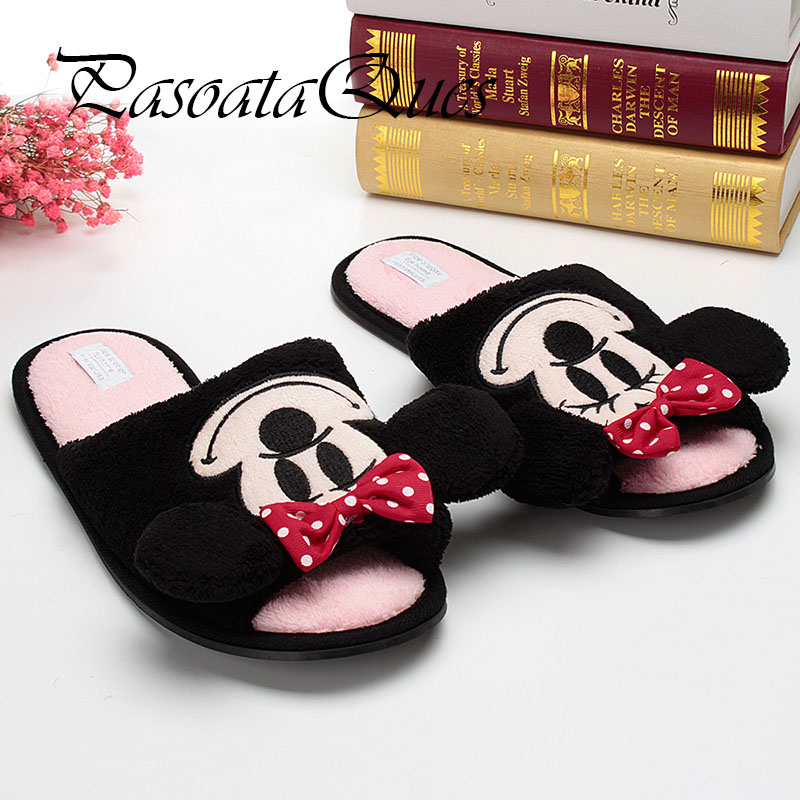 Cute Mouse Monster Cartoon Women/men Couples Home Slippers For Indoor Bedroom House Shoes Adult Warm Winter Christmas Flats 2017 new elecom 2 4g mini mouse vwith charging for home office general balls the mouse girl