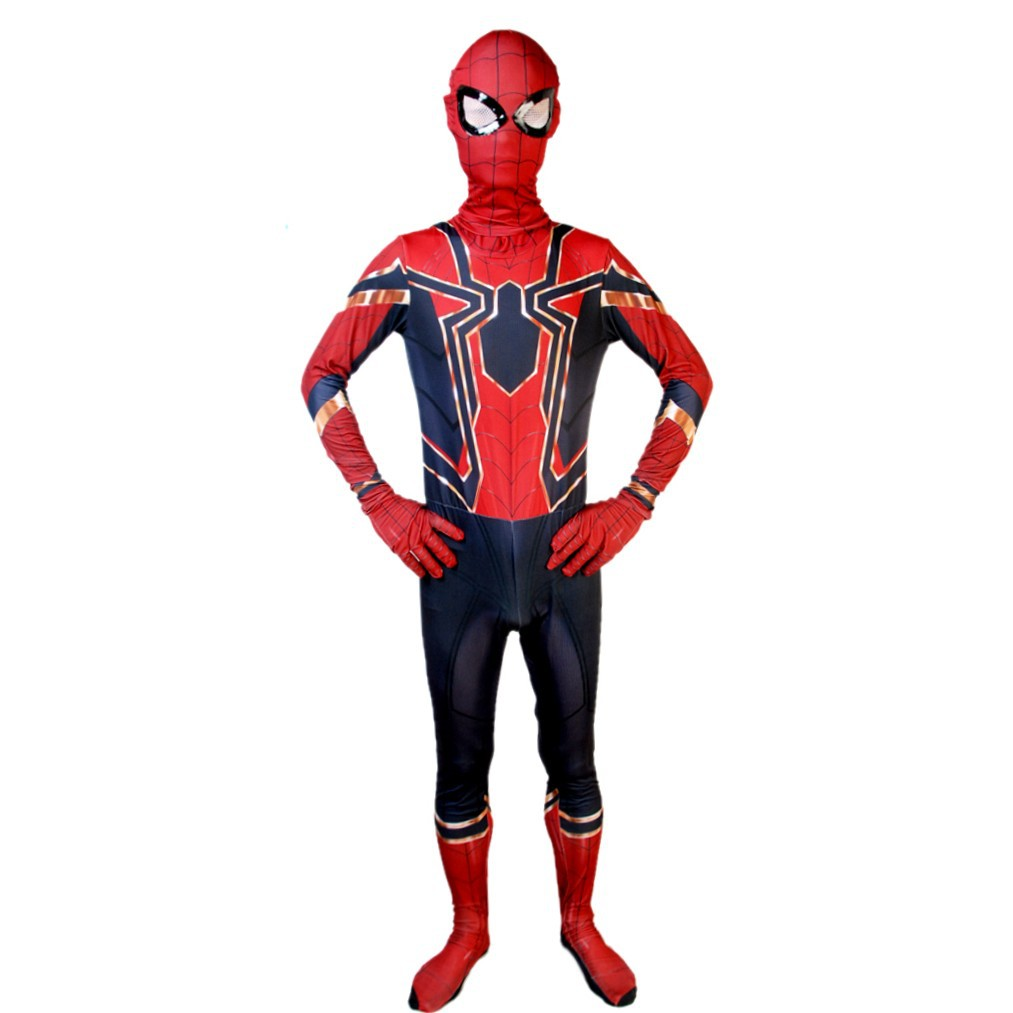 Peter Parker Cosplay Jumpsuit Superhero Red Spider Outfit With Detachable Mask Halloween Cosplay Costume Kid Adult Carnival Set