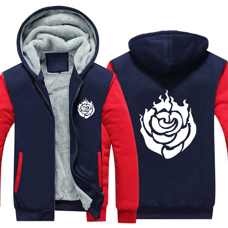 New Anime RWBY Hoodie Cosplay Crescent Rose Coat Sawada Casual Men Clothes Zipper Sweatshirt CM428
