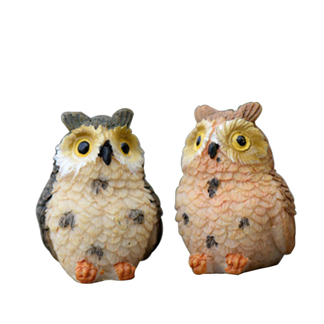 4pcs Artificial Cute Miniature Bird Owl Resin Figurine Craft Fairy Miniature Garden Dollhouse Ornament Home  Decoration DIY 2