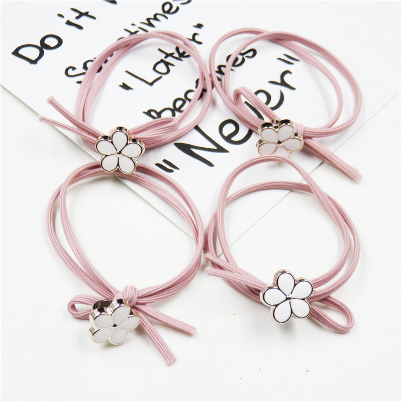 1PCS Creative Pink Flower Elastic Hair Bands For Girl Bohemian Headband Scrunchy Korean Fashion Kids Hair Accessories For Women