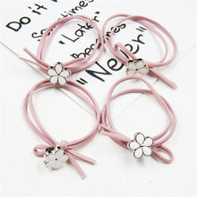 1PCS Creative Pink Flower Elastic Hair Bands For Girl Bohemian Headband Scrunchy Korean fashion Kids Hair Accessories For Women(China)