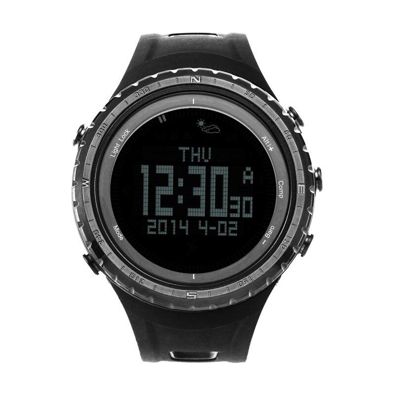 Saatler'ten Dijital Saatler'de SUNROAD Dijital Erkekler Spor Watches 5ATM Su Geçirmez Altimetre Pusula Kadın Barometre Saat spor saat Siyah Reloj mujer'da  Grup 1