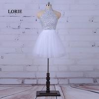LORIE Branco Vestido de Baile de Formatura Halter A Linha Frisada Cristais Tulle Curto Mini vestido de Cocktail do Regresso A Casa Vestido robe de bal de promo