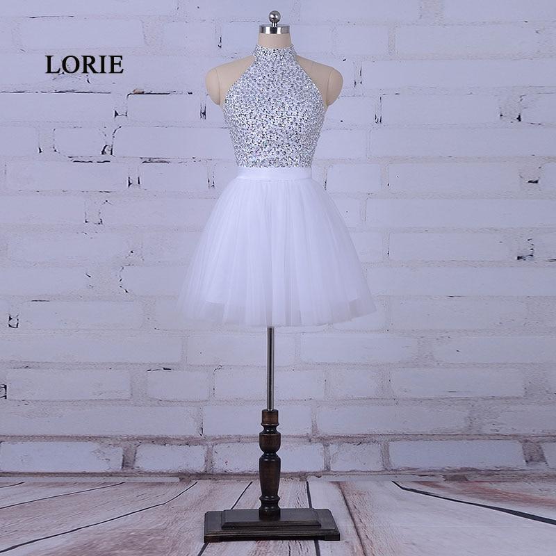 LORIE Белое выпускное платье для выпускного Холтер A-Line Кристаллы из бисера Тюль Короткое мини-платье для коктейля Homecoming Платье халат промо