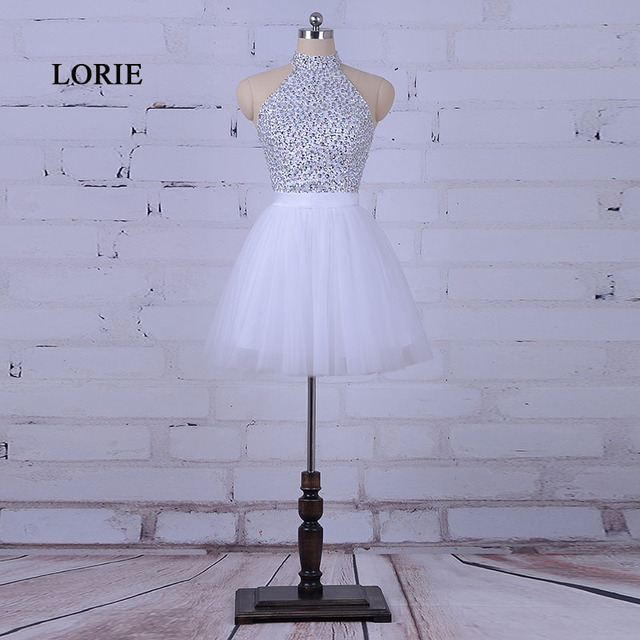 LORIE White Prom Dress for Graduation Halter A-Line Beaded Crystals Tulle Short Mini Cocktail Homecoming Dress robe bal de promo