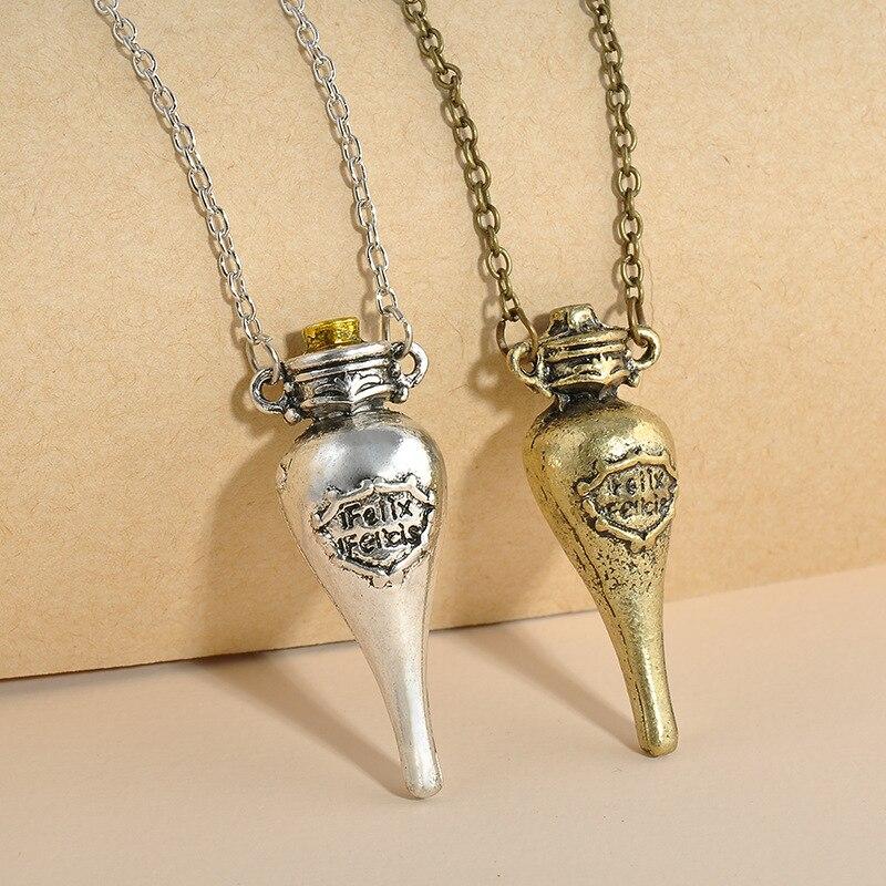 Felix Felicis Harry P Magical Potion Necklace Liquid Luck Bottle Retro Bronze Antique Silver Necklace Jewelry Classic Movie Gift