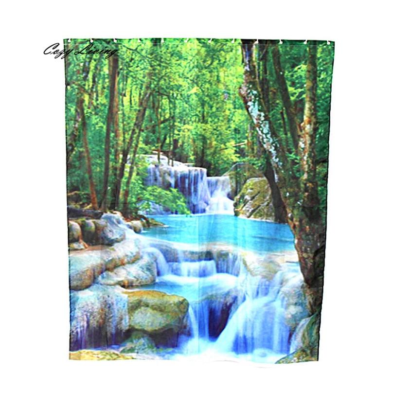 Scenic Shower Curtains 150 180cm Custom Fabric Waterproof