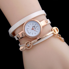 Women Leather Bracelet Watch Gold Case Quartz For Wrist New Style Laides Casual Rhinestone WristWatch !AC032