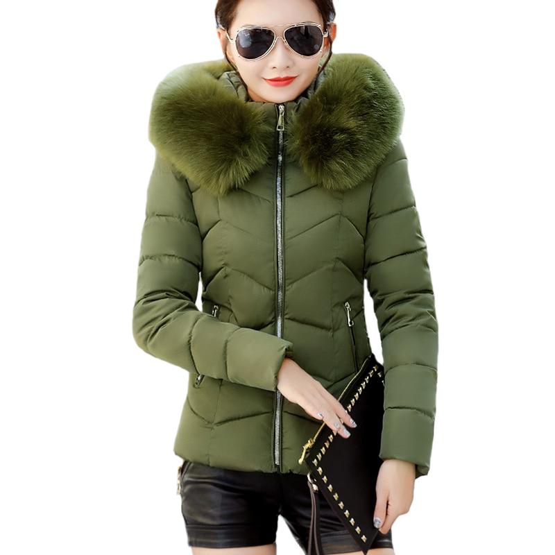 Female Autumn Winter Jacket 2018 Fashion Women   Parka   Hooded Fake Fur collar Down Cotton Coat Female slim Winter Coat Outwear