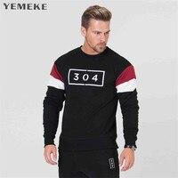 YEMEKE Brand Spring Autumn New Men Casual Hoodies Sweatshirt Red Black Light Gray Men S Stitching