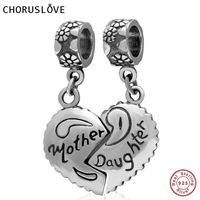 Choruslove 925 Sterling Silver Mother Daughter Heart Pendant Charms fits Pandora Bracelets for Mother's Day Gift SS2878