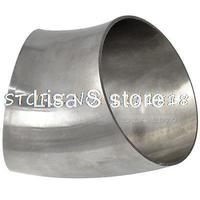 89mm 3 5 OD Sanitary Weld Elbow Pipe Fitting 45 Degree Stainless Steel 304