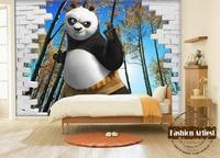 Custom 3d kids boys cartoon wallpaper mural kongfu panda in maple forest tv sofa children bedroom living room background