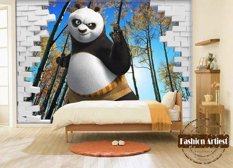 Personnalise 3d Enfants Garcons De Bande Dessinee Papier Peint Murale Kongfu Panda En Foret D Erable Tv Canape Enfants Chambre Salon Fond