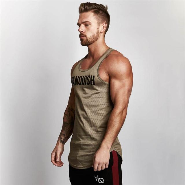 Vanquish Men Tank Top Gym Clothing  Bodybuilding Print gym clothing Fitness Mens ventilate Tank Top Shirt Musculation