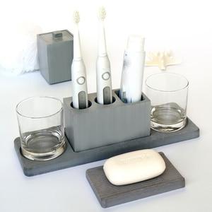 Image 1 - Cement bathroom mold toothbrush holder soap tray cotton swab box Hotel multifunctional concrete gypsum diatom mud silicone mo