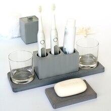 Molde de cemento para baño soporte para cepillo de dientes bandeja de jabón, hisopo de algodón, multifuncional para Hotel, yeso, diatom, barro, silicona, mo