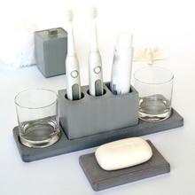 Molde de escova de dentes de cimento, bandeja de sabão, caixa de cotonete, hotel, multifuncional, suporte de vaso, de silicone, lama diatom