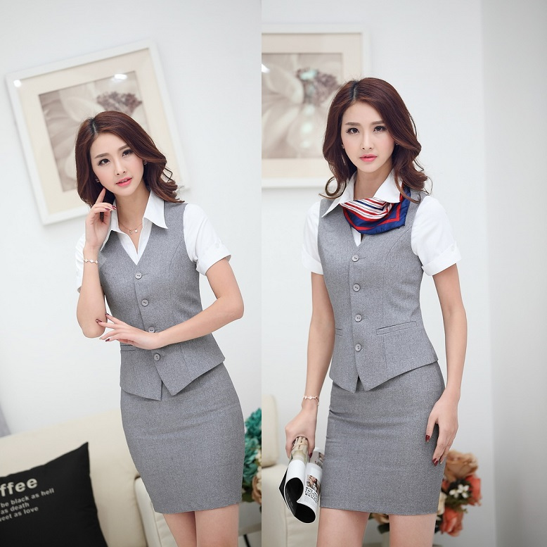Hot Sale Elegant Grey Office Ladies Suits Vest And Skirt