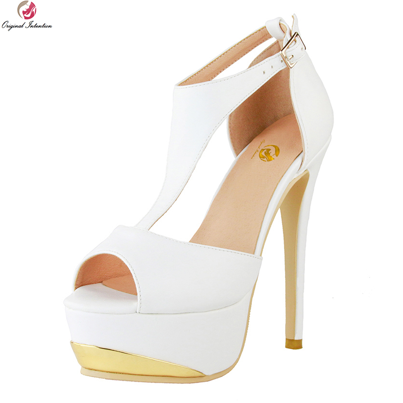 Original Intention New Elegant Women Sandals Fashion Open Toe Thin High Heels Sandals Nice White Shoes Woman Plus US Size 4-20 original intention super sexy women sandals fashion open toe thin high heels sandals nice black shoes woman plus us size 4 20