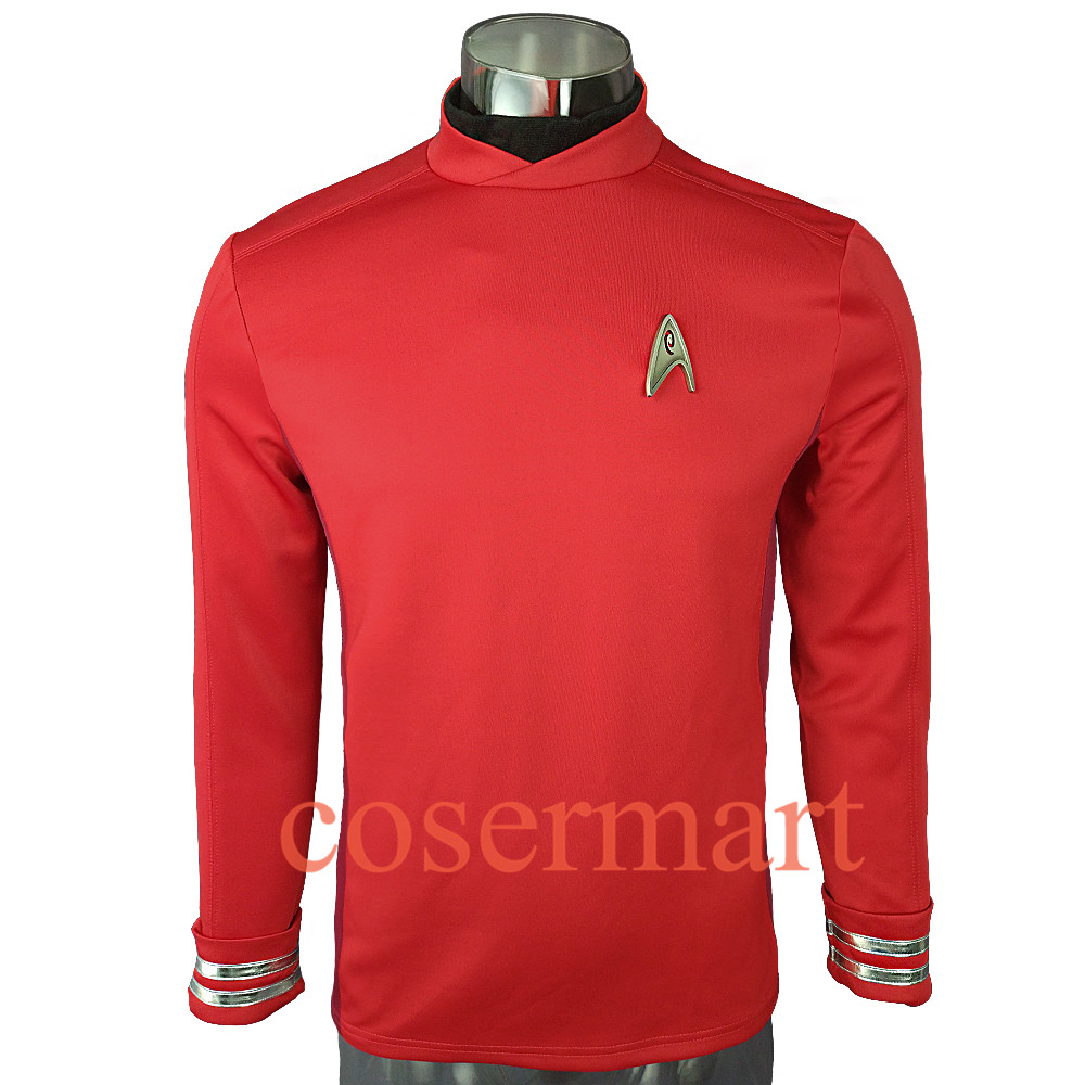 New 2016 Star Trek Costume Cosplay Star Trek Beyond  Sulu Costume Cosplay Sulu Red Uniform  Halloween Party
