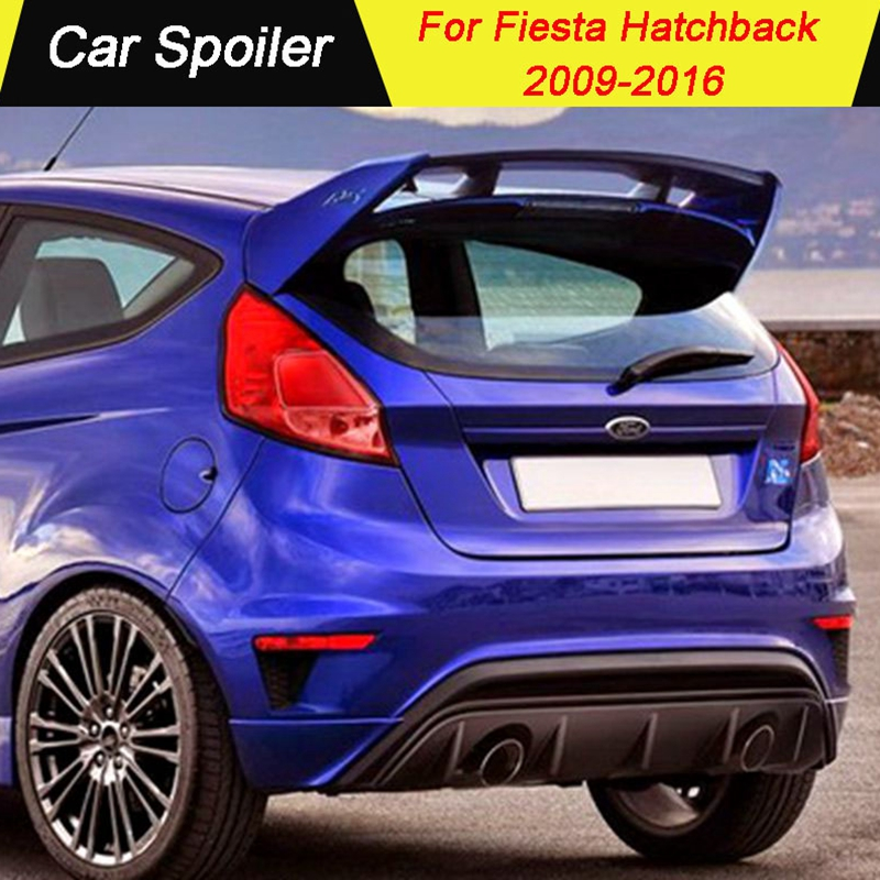 For Ford Fiesta Hatchback 2009 2010 2011 2012 2013 2014 2015 2016 Spoiler FRP Material Primer Color Car Tail Wing Decoration
