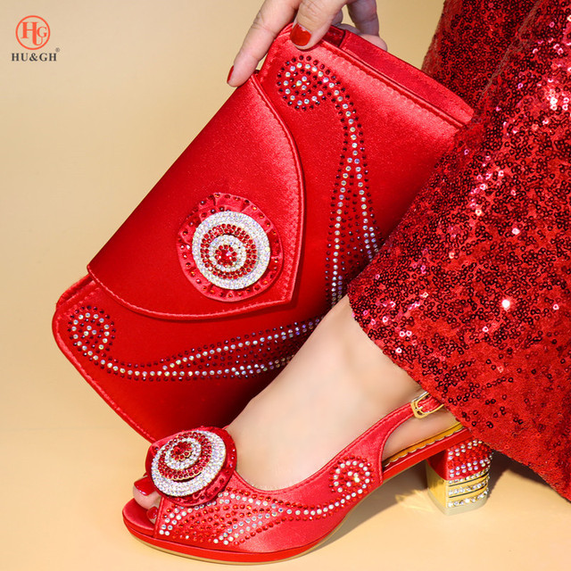 New Italian PU Leather Shoe and Bag Set Red Color Italian Shoe with Matching Bag Set 2018 Nigerian Shoes and Bag Set for Party