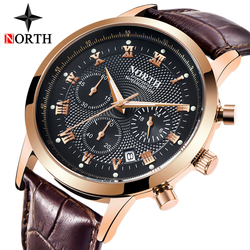 NORTH Mens Watches Top Brand Luxury Men's Army Military Sport Watch Men Casual Leather Waterproof Quartz Watch Relogio Masculino