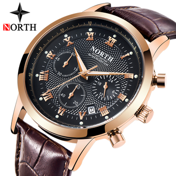 NORTH Mens Watches Casual Leather Waterproof Quartz Watch  1
