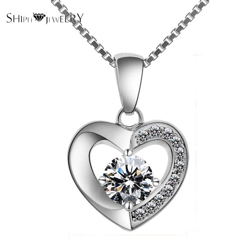 ShiPei Brand AAA Crystal Cubic Zircon Exquisite Heart Pendant Women Necklace Fashion Jewelry