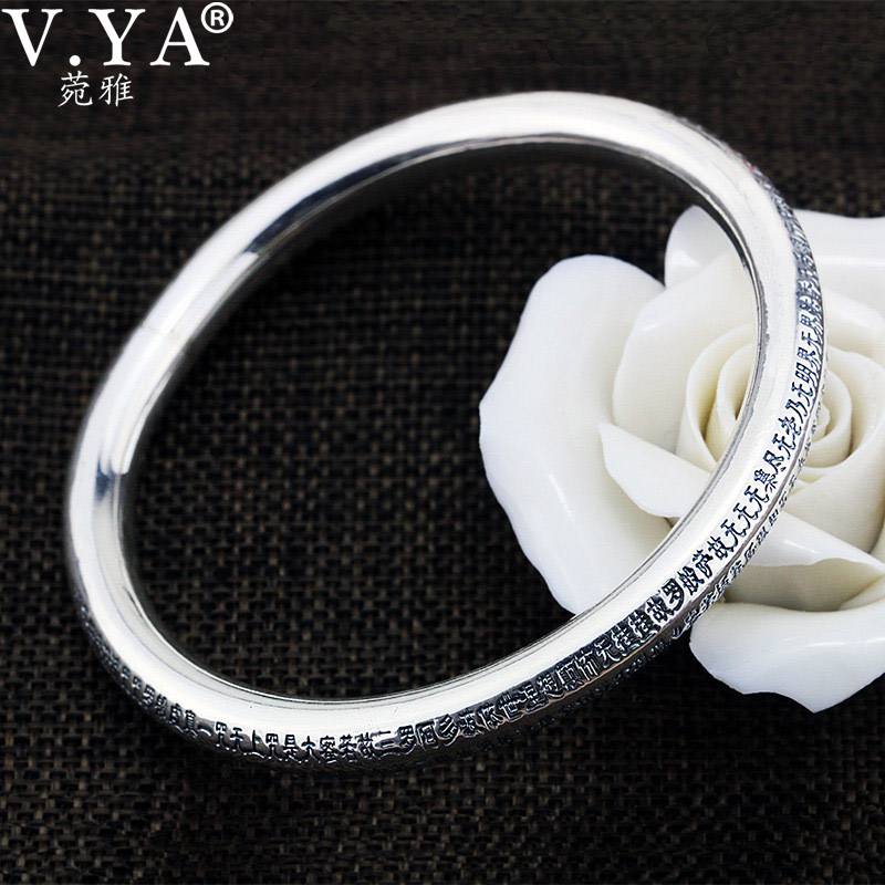 V.YA Buddhism Heart Sutra Bangle For Women Real 999 Pure Silver Jewelry Vintage Bangles Amulet Blessing Best Gift