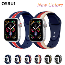 Sport Silicone strap for apple watch band correas 44mm 42mm series 4 3 2 1 iwatch 38mm 40mm colorful Soft wrist Bracelet belt