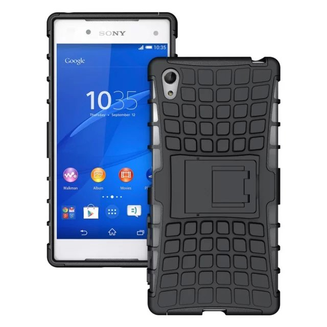 For Sony Xperia Z5 Z 5 Plastic Tpu Shockproof Rugged Grain Case With Stand Bracket
