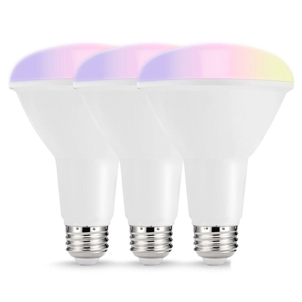 Ampoule LED intelligent, lumières de wifi LED multicolores, ampoules encastrées BR30 Dimmable, lumière d'inondation équivalente de 75W80W, Compat