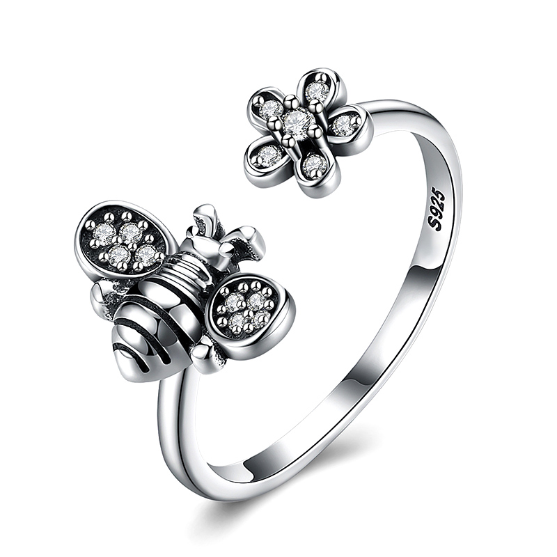 Adjustable Sexy Silvery Womens Cute Honey Bee And Flower Finger Open Rings Wedding Arrival 1pc Sale Unique Allergy Free Gifts Clearance Price